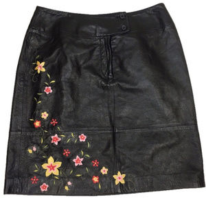 Genuine Leather Mini Skirt w/ Flower Embroidery